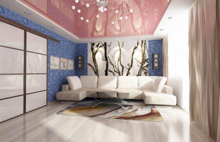 Натяжные потолки для зала и освещение зала