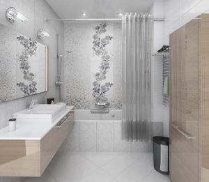 Красивый ремонт в ванной комнате в светлых тонах