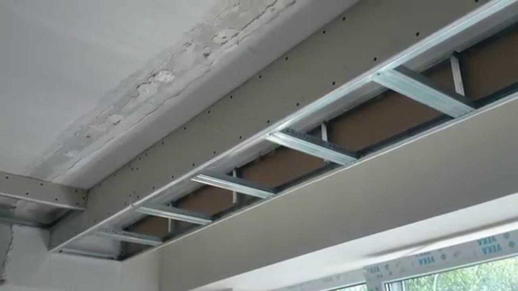 Потолочный короб из листов ГКЛ под установку натяжного потолка