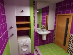 Очень яркая ванная комната со шкафчиками